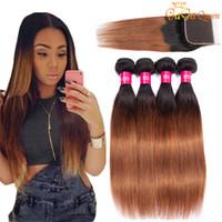 GagaQueen Hair Brazilian Straight Pein Bundles con cierre 1b / 30 Ombre El pelo humano brasileño teje con cierre