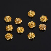 Golden Rose Shape 10 pieces Silver 3D Alloy Nail Art Slices ...