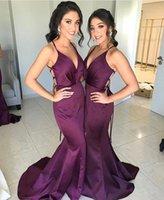 2020 uva roxa espaguete mermiadia vestido de dama de honra barato abrir bainha de bainha formal vestido de bainha pos plus tamanho casamento convidado vestido de noite