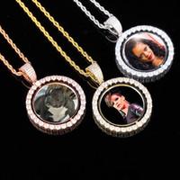 Hip Hop heló hacia fuera circón joyería personalizada Hombres de fotos de imágenes colgante, collar de las mujeres de encargo de memoria medallón collar de plata del oro de la cuerda Chai