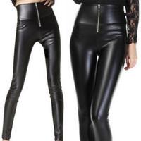 WKOUD Bahar PU Deri Legging Ile Kadınlar Için Yüksek Bel Tayt Zip 2019 Katı Siyah Streetpants Sıska Pantolon P8732