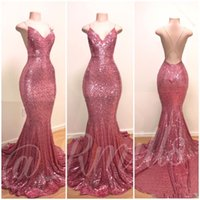 Blingbling Backless Sequins Long Prom Gown 2019 Mermaid Prom...