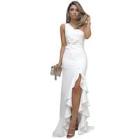 Frauen sommer schicke abendkleid designer kleid kräuselte große schwinge offene mopping massiv farbe mode