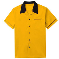 Weißes Bowling-Hemd Kurzarm Klassisches Retro-Hemd Gelbe rote Baumwolle Mid-Century Fahion-Stil-Männer-Shirts