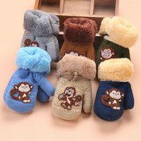 어린이 단추 장갑 니트 만화 원숭이 플러스 벨벳 장갑 매는 밧줄 두꺼운 장갑 겨울 3 스타일