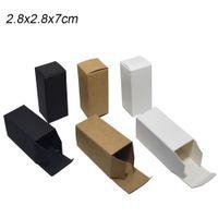 2.8x2.8x7cm Piccolo Kraft scatole di carta per il profumo Fioretto pacchetto scatola di carta in bianco colorato pieghevole morbida del cartone