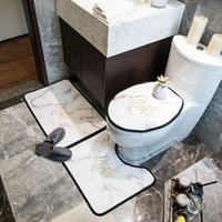 간단한 스타일 편지 인쇄 목욕 매트 패션 홈 변기 좌석 커버 클래식 비 슬립 오버 코트 화장실 케이스