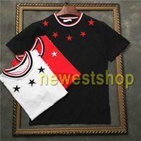 2020-Sommer-heiße neuestes Mens Gestickte fünfzackigen Stern-Druck-T-Shirts Stern Baumwolle Striped Druck-T-Shirt lässig Designer T-Shirt