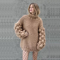 Bubble Sleeve Sweater Pullover One Size Chunky Crocheted Kni...