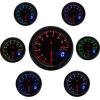 2インチ52mm 7色LEDカーオートタコメータ0-10000 RPMゲージアナログ/デジタルデュアルディスプレイカーメーター
