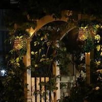 Jardin Lampes solaires Pineapple solaire Light Path Outdoor Hanging Décor Guirlande lumineuse étanche fil de fer Art lampe mur