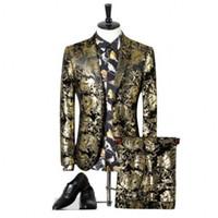 الرجال الفاخرة الزفاف بدلة رجال 2020 جديد نمط الطباعة البدلة حزب اللباس صالح سليم زي أوم للرجال مع 2 قطعة (سترة + بانت)