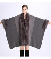 Nueva Moda otoño e invierno Europa y los Estados Unidos sueltos imitación de zorro de lana cuello de lana de gran tamaño CAPE CARDIGAN CAPE
