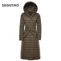 SEDUTMO Winter Damen Daunenjacken Plus Size 3XL Ultraleichte Entendaunen lange Pufferjacke schwarz Parkas ED048