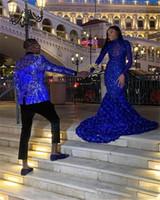 2020 Royal Blue Sirena Vestidos de noche más Tamaño Manga Larga Girls Black Girls Rose Flor Apliques Pulseras de Prom Abaritudes Vestido de ocasión especial