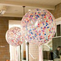 Globo de látex 36inch confeti Globos Claro lentejuelas de la boda del partido de Halloween del cumpleaños decoración globos de color 8 HHA943
