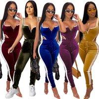 Осень Зима Женщины «S Set Velvet Bodysuit карандаш брюки костюм из двух частей набор Sexy Street Повседневная мода Tracksuit Outfit Размер S-2XL