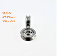 ガイドトラック4 * 13 * 6mmベアリングのための500ピースV624ZZ V624 ZZ 624VV 4X13X6MM V溝ボールベアリングローラーホイール