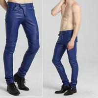 Мода хип-хоп мужские кожаные брюки из искусственной кожи PU материал 4 цвета мотоцикл тощий искусственная кожаные наружные брюки мужские брюки днища