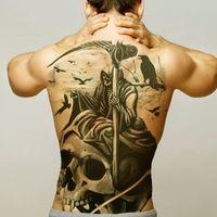 Halloween Körperaufkleber Männer Große temporäre Tätowierung Wasserdichte Große volle Rückseite Tattoo für Herren Tattoos Übertragbare Fake Tatoo Sexy