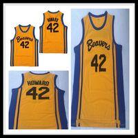Adolescente Hombres lobo Película Beacon castores Baloncesto 42 Scott Howard Jersey Tamaño barato amarillo cosido Logos envío libre de calidad superior S-XXL