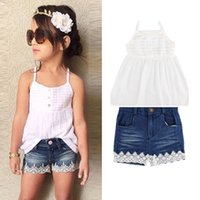 Summer Kids Girls Strap Vest Denim Lace Shorts 2pcs set Outf...