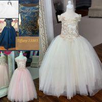 Princess Girl Pageant платья 2019 от плеча розовая слоновая слоновая птица синий тюль длинный Tiffan Y малыш младенческая девочка девчонки праздничные платья