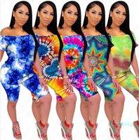 Yaz Kadın Giyim Renk Omuz Kapalı Tie-boyalı tişört şort 2 adet Seti Bayanlar Casual Giyim Eşofman Kadın Spor Suit D5509 Tops