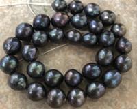 New Fine jewelry jewelry stunning13-14mm tahitian nero verde collana di perle rosse 18 pollici