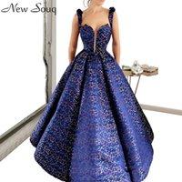 2020 azul novo Impresso Vestidos Arábia Saudita Dubai Uma linha Robe De Soiree Prom Party Vestidos