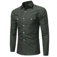 Топы с длинными рукавами футболки мужские 19ss Весна дизайнер повседневные рубашки карманы однобортный