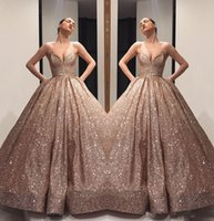 Champagne Sequined prom dresses 2019 Puffy Princess Ball Gow...