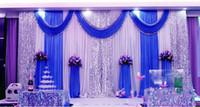 3 M * 6 M Sequins Boncuk Kenar Kumaş Saten Asmak Örtüsü Perde mavi Gümüş Ile Pullu Kumaş Ile Yağma Sahne Performansı Arkaplan Sahne Düğün dekor