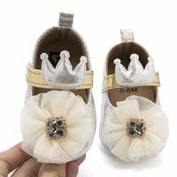 Детская дизайнерская обувь с большой цветочной короной Детская дизайнерская обувь Принцесса Детская обувь для девочек Мокасины Мягкие First Walker Детская обувь A2384