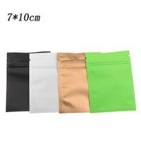 500pcs / lot 7 * 10cm bianco opaco / nero / verde / marrone colorato foglio di alluminio sacchetti della chiusura lampo piccola chiusura lampo sacchetto di lamina di mylar caffè tè pacchetto di cibo borse