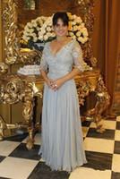 Nueva plata gris Madre de la Novia Cuentas Vestidos Largos apliques de gasa vestidos de noche del partido del tamaño de encargo del vestido de visitantes