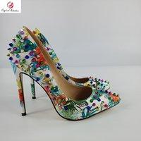 Платье обувь женщин насосы мода партии каблуки указанные носки тонкий заклепок многоцветный рост пятки 12-13см оригинальный размер 35-45