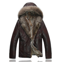 Mens Leather Jacket Real Raccoon Fur Coats Winter Clothing S...