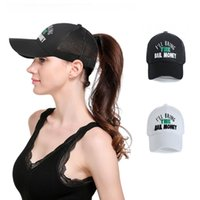 Fashion Letters Embroidery Baseball Caps Women Ponytail Snap...