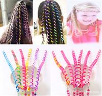 Строка бусины Радуга волос намотки палку DIY дети спираль цвет катушки бигуди диадемы коса девушка керлинг палка коса