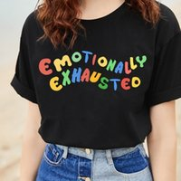 Humor Emotionally Exhausted T-shirt stampate Lettere variopinte T-Shirt Donna Estate Tops Street Wear Cotone morbido Harajuku Top Y190501301