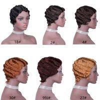 Classic Finger Wave Short Perruque Pixie 100% Remy Cheveux humains Brésilien Wavy Wavy Wavy Bobs pour femme Noire Femme Consommable Machine Courte perruque