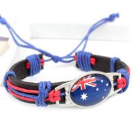 Fashion Nationalflaggen Deutschland Australien Polen Uruguay Charm Armband Armbänder aus Leder geflochtenen Seil Armband Punk Style