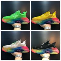 meilleure qualité triple chaussures de marque de s pour hommes, femmes arc-en-baskets plate-forme formateurs de fond mens 17fw chaussure espadrille papa Vintage casual