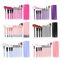 12 Teile / sätze Make-Up Pinsel Werkzeug Lidschatten Foundation Augenbrauen Lippenpinsel kosmetik Leder Getränkehalter Fall Kit 50 sätze / los DHL