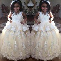 2019 Lindo Lindo Pequeno Princesa Vestido de Aniversário Lace Apliques de Tule Até O Chão Flor Meninas Vestido Primeira Comunhão Vestido