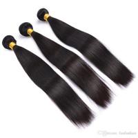 Brezilyalı Düz Demetleri Şanslı Kraliçe% 100% İnsan Saç Dokuma Paketler 3 adet Doğal Renk 10-26 inç Saç Uzantıları Olmayan Remy Saç