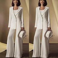Neue Chiffon Long Sleeves Mutter der Braut Hose Anzüge mit Jacke Mutter Kleider Maßgeschneiderte weiße formelle Outfits