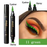 6 Couleur Choisissez des crayons de timbres à l'eye-liner liquide Crayons à deux têtes Sceau de l'aile mince étanche Maquillage de maquillage Noir Bleu Black Brown TSLM2