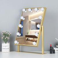 Espelhos compactos Desktop Vanity Mirror Ins Red LED Makeup com Bulbo Menina Dormitório Inteligente Preencher Light